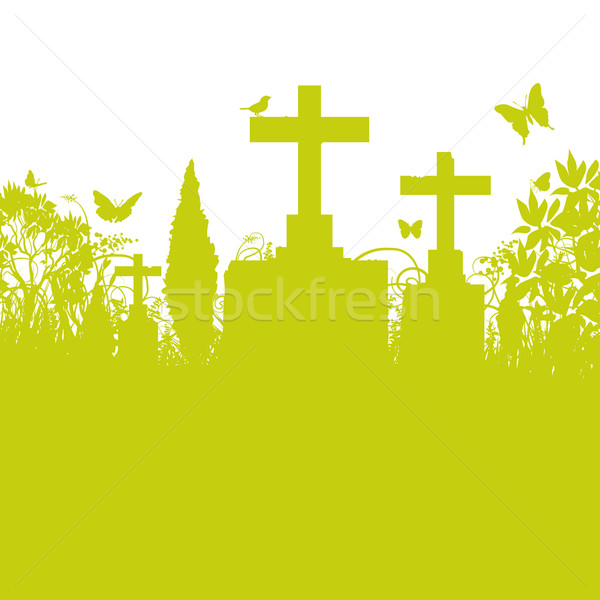 Blades of grass and cemetery Stock photo © Ustofre9