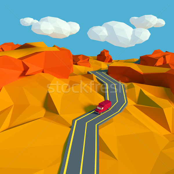 Small landscape with a road in the desert and low poly Stock photo © Ustofre9