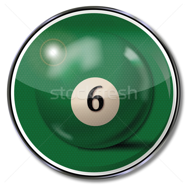 Sign green pool billiard ball number 6 Stock photo © Ustofre9