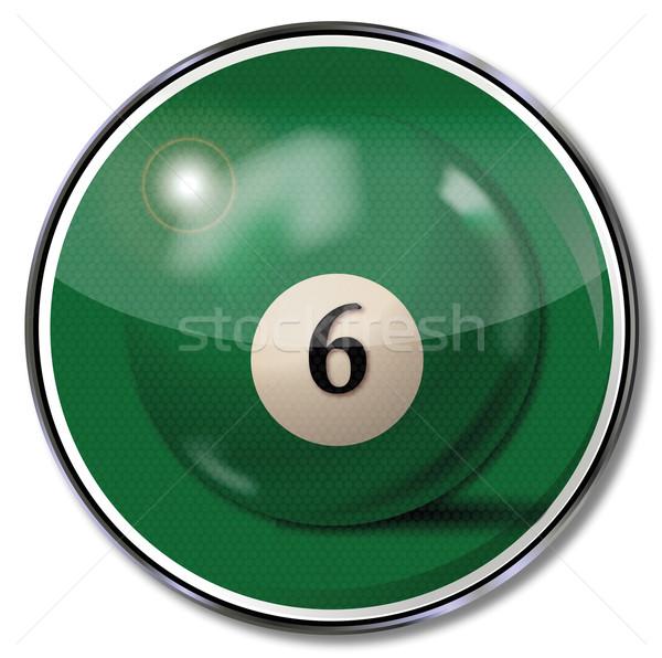 знак зеленый бассейна бильярдных мяча числа Сток-фото © Ustofre9