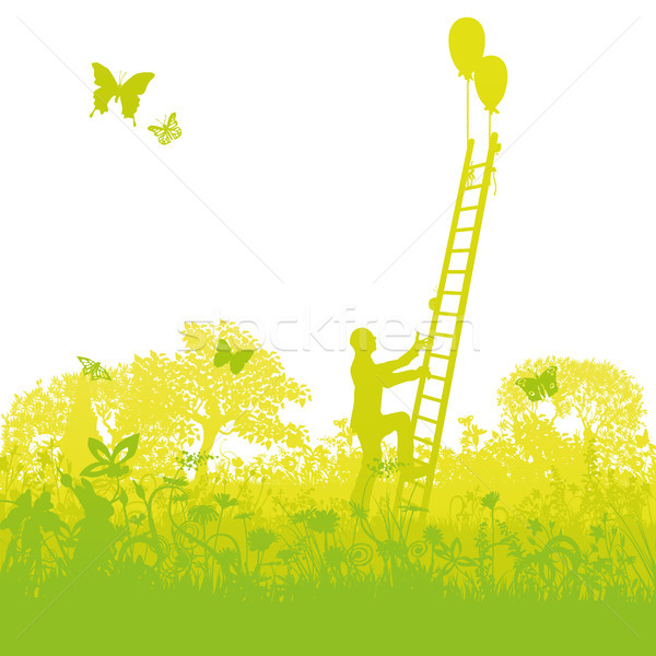 Climbing up a ladder successfully out of the thicket Stock photo © Ustofre9