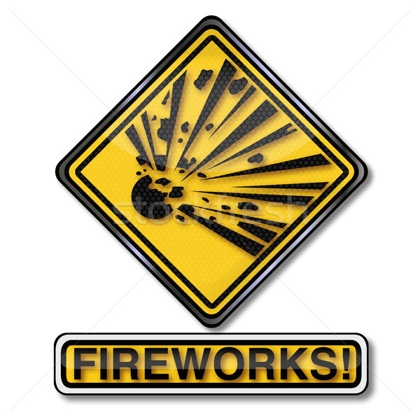 Signe de danger attention explosive feux d'artifice nouvelle ans Photo stock © Ustofre9