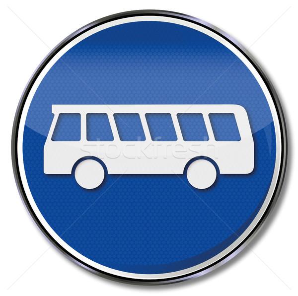 Podpisania autobus przystanek autobusowy podróży prawa ruchu Zdjęcia stock © Ustofre9