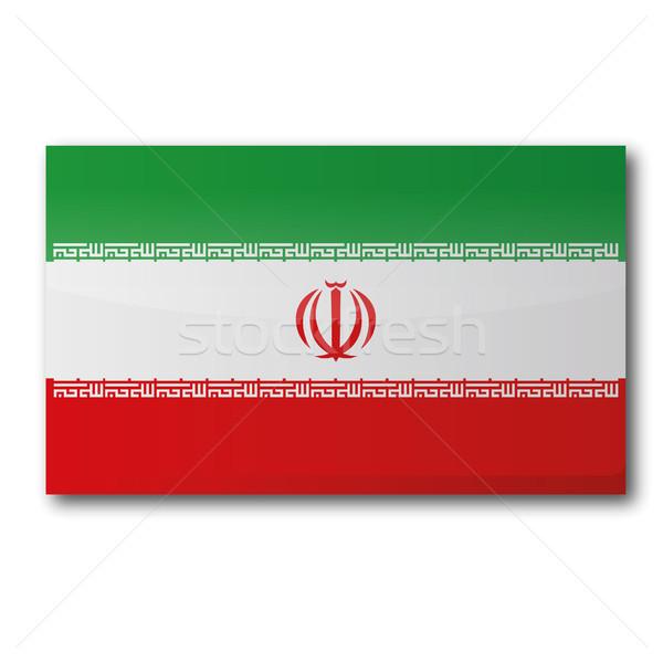 Bayrak İran harita ülke haritaları düğme Stok fotoğraf © Ustofre9