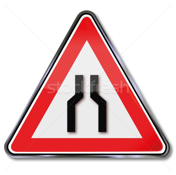 Warning road sign road narrows Stock photo © Ustofre9