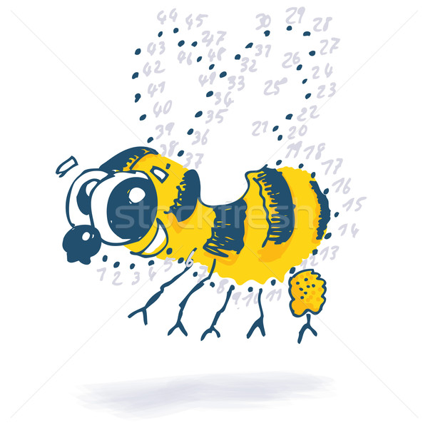Point drawing with a little funny bee  Stock photo © Ustofre9