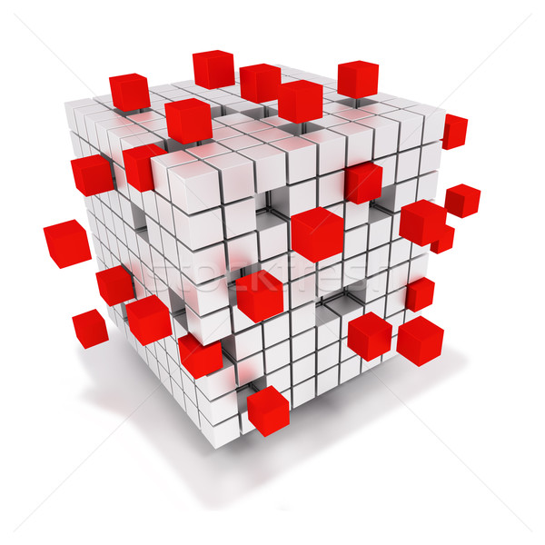 Dice pile and single red cubes  Stock photo © Ustofre9