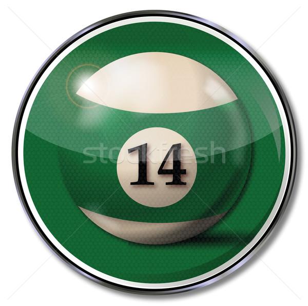 Felirat biliárd labda szám 14 természet Stock fotó © Ustofre9