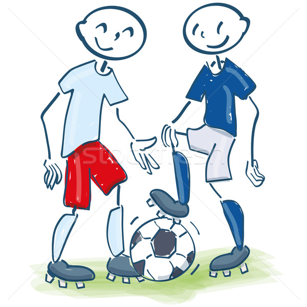Stock photo: Stick figures as soccer players in white-red and blue