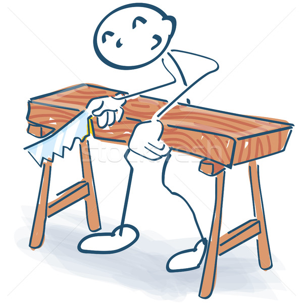 Stick figure as a craftsman sawing a thick bed Stock photo © Ustofre9