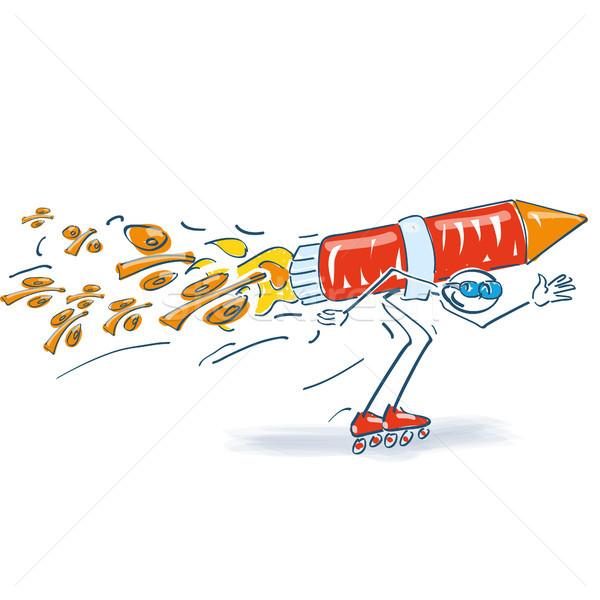 Palo patines cohete por ciento negocios luz Foto stock © Ustofre9