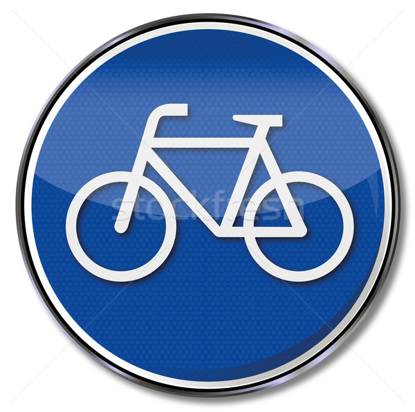 Stok fotoğraf: Imzalamak · bisiklet · yaya · araba · sokak · trafik