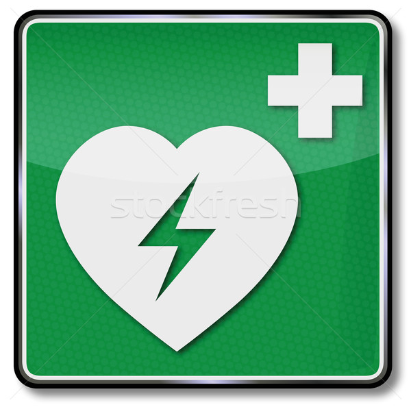 Fire safety sign heart attack and first aid Stock photo © Ustofre9
