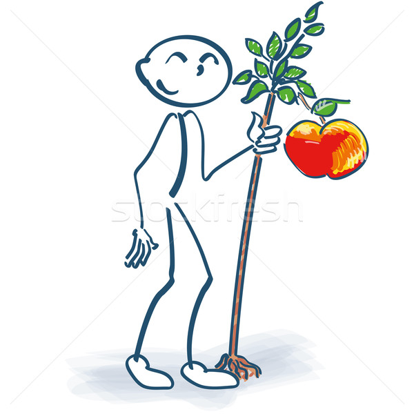 Stick figure with a little apple tree Stock photo © Ustofre9