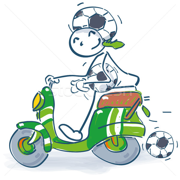 Stick figure with scooter as a soccer fan Stock photo © Ustofre9