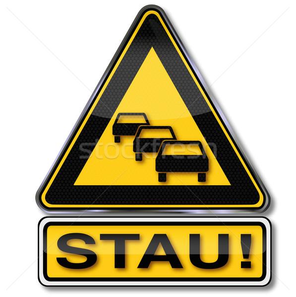 Ostrzeżenie znak drogowy korku samochodu radio most Zdjęcia stock © Ustofre9