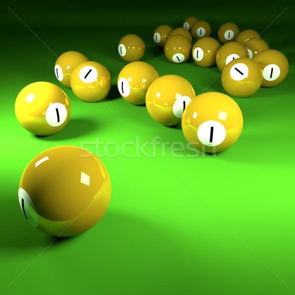 Sarı bilardo spor yeşil Stok fotoğraf © Ustofre9