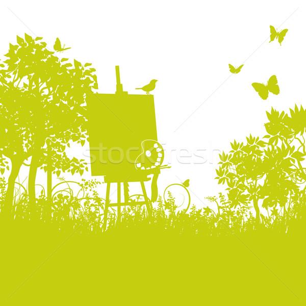 трава мольберт саду цветок весны карта Сток-фото © Ustofre9