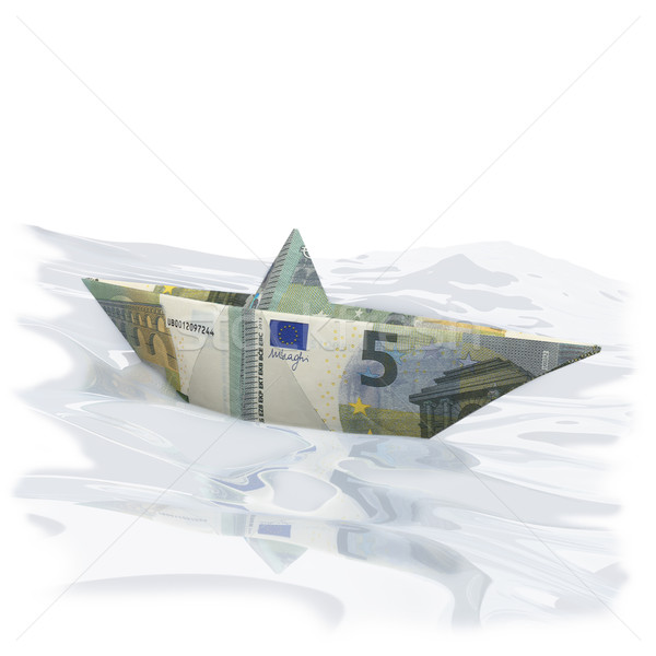 Little paper boat with five Euro  Stock photo © Ustofre9