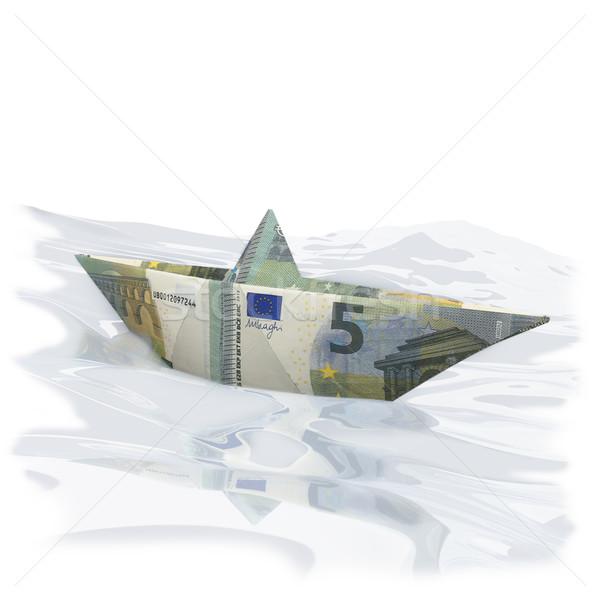 Kicsi papír csónak öt Euro pénz Stock fotó © Ustofre9