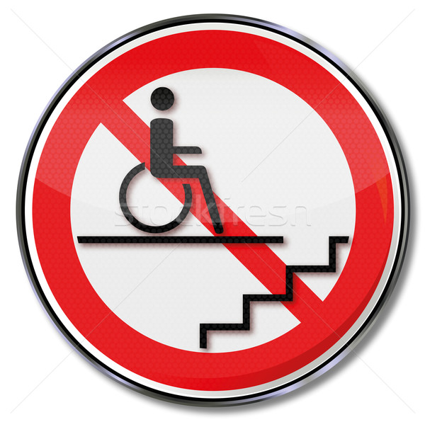 Prohibition sign for wheelchair users in the stairwell  Stock photo © Ustofre9