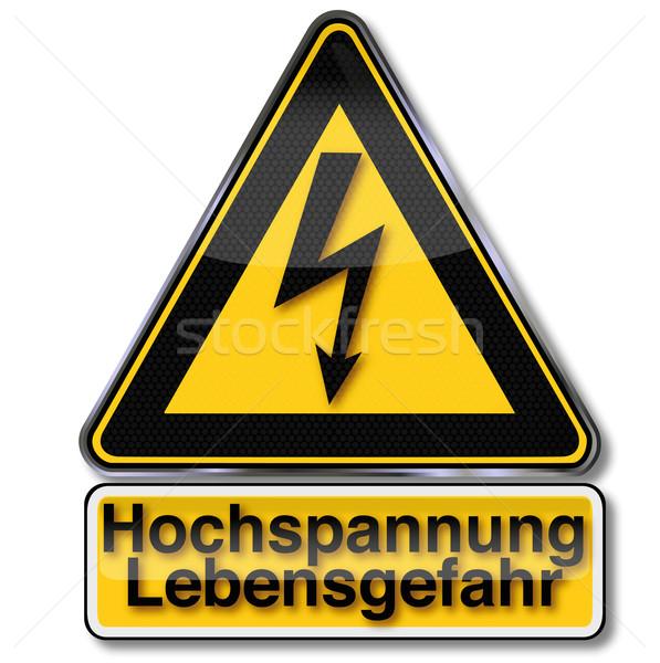 Stock photo: Hazard sign power and flash