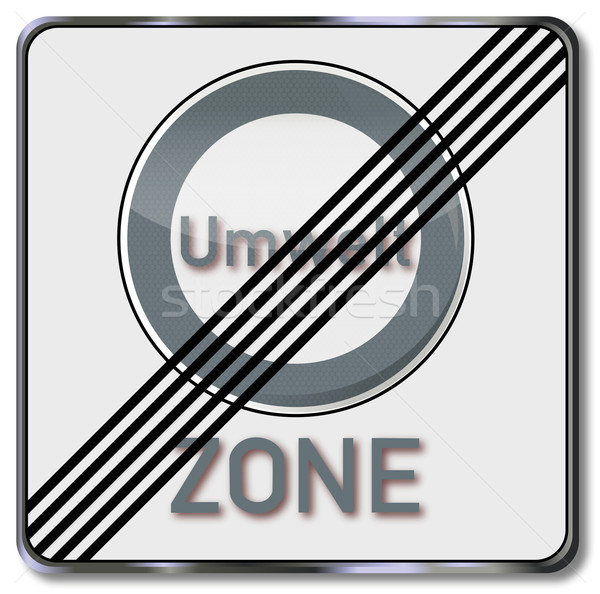 Traffic sign annulment of the environmental zone Stock photo © Ustofre9