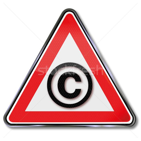 Droit d'auteur bouclier plaque regarder signes bouton Photo stock © Ustofre9