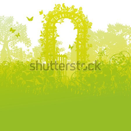 Blades of grass and gate of roses Stock photo © Ustofre9