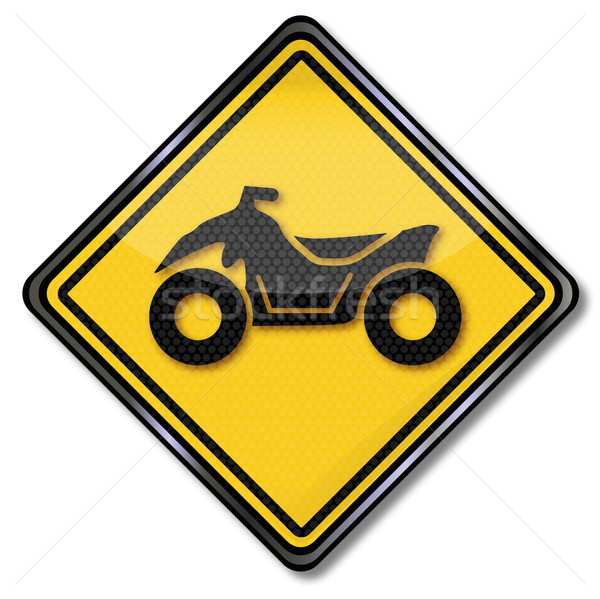 Road sign with a quad Stock photo © Ustofre9