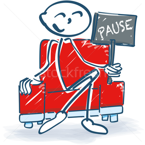 Stick figure with a break in armchair Stock photo © Ustofre9