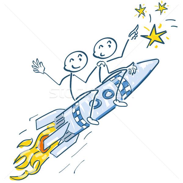 Pálcikaember rakéta csillagok üzlet buli születésnap Stock fotó © Ustofre9