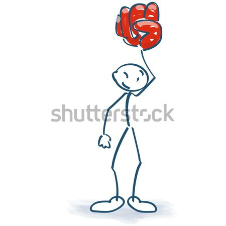 Stick figure with champagne glass and balloon on a stick Stock photo © Ustofre9