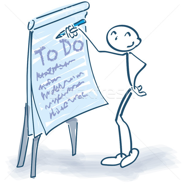 Stick figure with flip chart and ToDo list Stock photo © Ustofre9