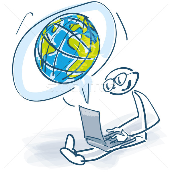 Stick laptop mondo business computer mondo Foto d'archivio © Ustofre9