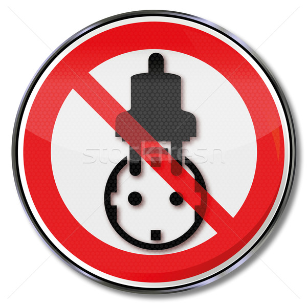 Prohibition sign socket, power, save electricity and energy wastage Stock photo © Ustofre9