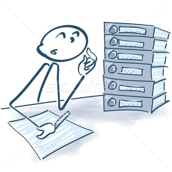 Stick figure with files and overtime Stock photo © Ustofre9