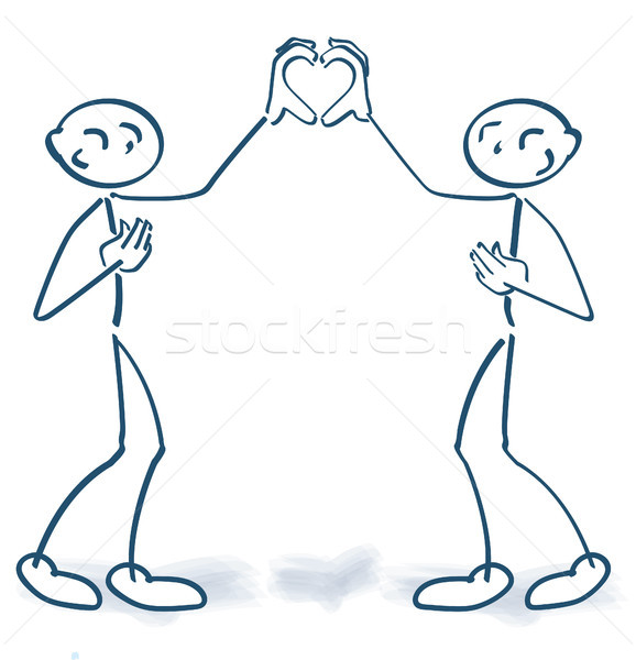 Stick figures building together a form of a heart with their hands Stock photo © Ustofre9