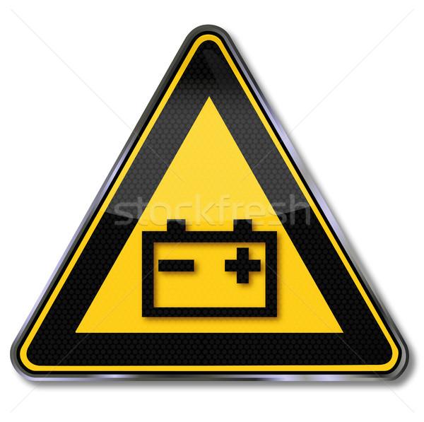 Сток-фото: знак · опасности · осторожность · батареи · признаков · электроэнергии · желтый