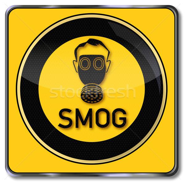 Figyelmeztető jel szmog gázmaszk egészség ipar laboratórium Stock fotó © Ustofre9