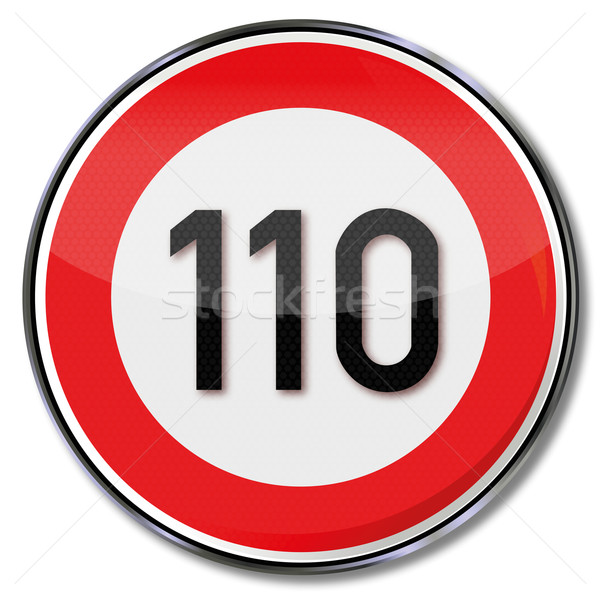 Traffic sign speed limit 110 kmh Stock photo © Ustofre9