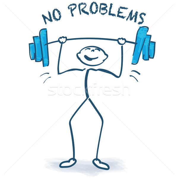Stick figure with weight lifting and no problems Stock photo © Ustofre9