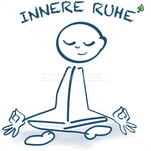 Stick figure sitting cross-legged and inner peace Stock photo © Ustofre9