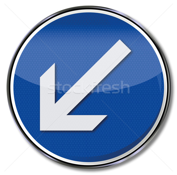 Traffic sign arrow pointing down left Stock photo © Ustofre9