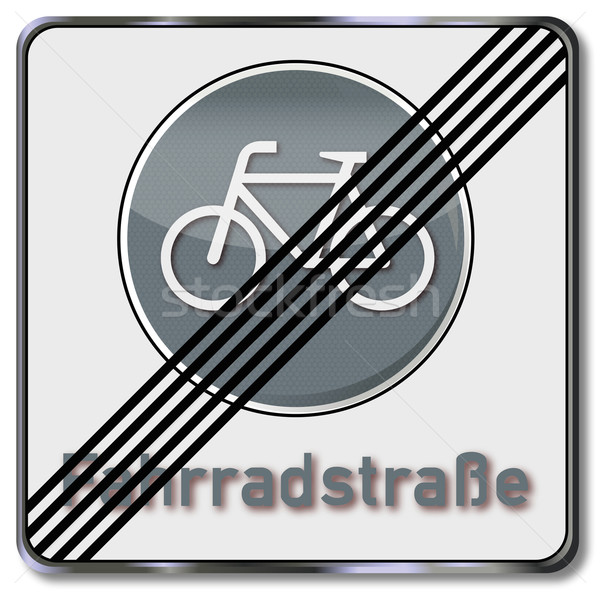 Traffic sign end of the bicycle road  Stock photo © Ustofre9