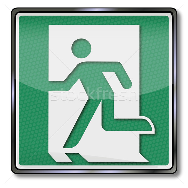 Fire safety sign with emergency exit  Stock photo © Ustofre9