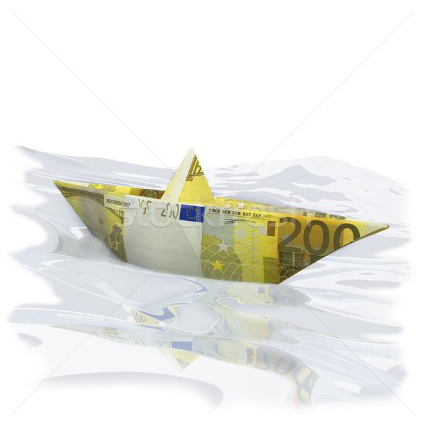 Papier boot euro geld reizen schip Stockfoto © Ustofre9