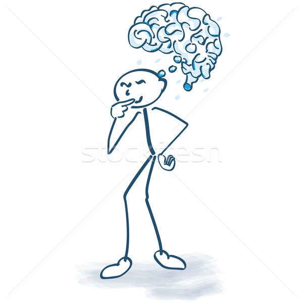 Stock photo: Stick figure with a brain