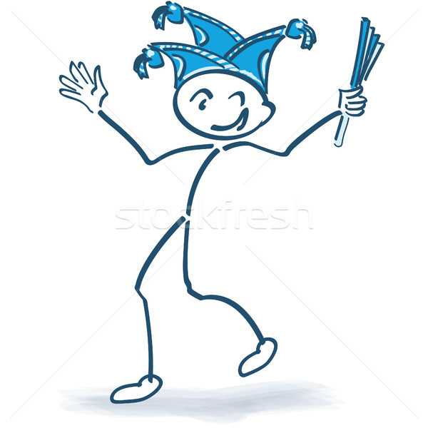 Stick figure celebrating with carnival cap and carnival Stock photo © Ustofre9