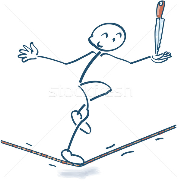 Stick figure on the rope with a knife Stock photo © Ustofre9